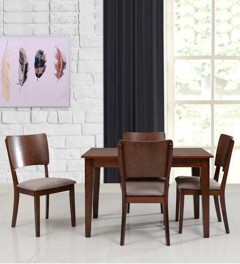 Sydney Four Seater Dining Set In Walnut Finish By Evok
