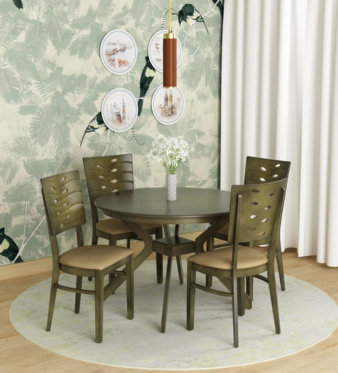 Sydney Four Seater Round Dining Set In Walnut Colour By Royal Oak