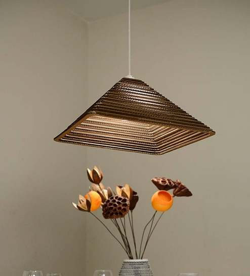 Brown corrugated board and paper hanging light by sylvn studio