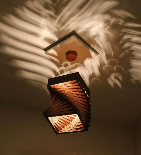 Beige and brown corrugated board and paper hanging light by sylvn studio