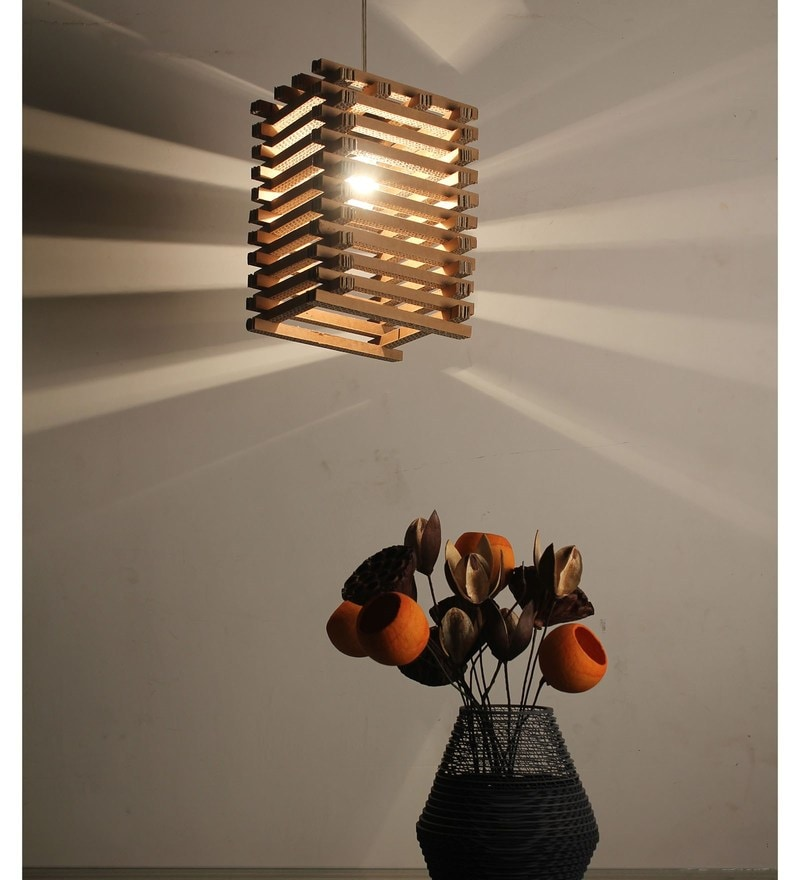 Buy brown corrugated cardboard trellis pendent by sylvn studio online eclectic hanging lights hanging lights lamps lighting pepperfry product