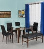 Symphony Six Seater Dining Set (4 Chairs + 1 Bench) in Walnut Finish by @home