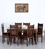 Taksh Handcrafted Six Seater Dining Set with Brown Upholstrey