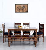 Taksh Handcrafted Six Seater Dining Set with Blue Upholstery