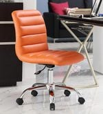 Tangy Ergonomic Chair in Orange Leatherette