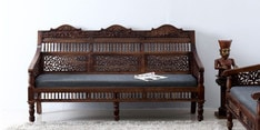 Taksh Handcrafted Three Seater Sofa in Provincial Teak Finish