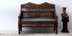 Taksh Handcrafted Two Seater Sofa in Provincial Teak Finish