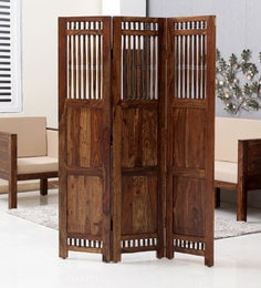 Taksh Solid Wood 3 Panel Room Partitioner In Provicial Teak Finish