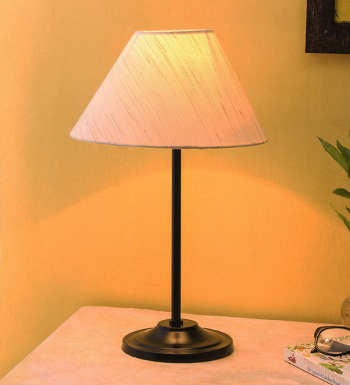 Off White Cotton Shade Table Lamp