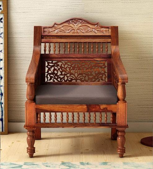 Strange Taksh Solid Wood 1 Seater Sofa In Honey Oak Finish By Mudramark Uwap Interior Chair Design Uwaporg