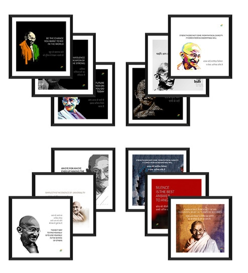 Buy Tallenge Multicolor Canvas 15 x 15 Inch Mahatma Gandhi Framed
