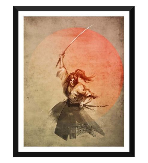 Tallenge Paper 12 x 0 5 x 17 Inch Japanese Art Modern The Samurai Framed  Digital Poster