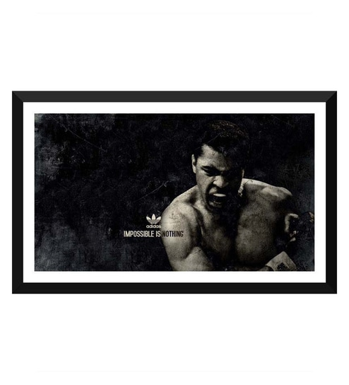 magasin en ligne f91bc dd738 Paper 17 x 0.5 x 12 Inch Muhammad Ali Impossible Is Nothing Adidas Framed  Digital Poster by Tallenge