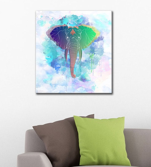 Buy Tallenge Vinyl 24 x 42 Inch Rainbow Elephant Framed Canvas Art ...