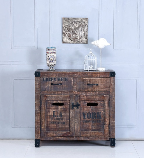 Talon Solid Wood Cabinet In Distress Finish By Bohemiana