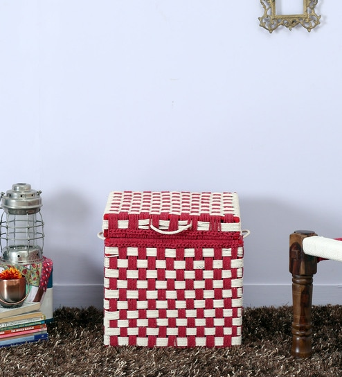 Tasarika Small Trunk with Weaving Work in Red and White Colour by Mudramark
