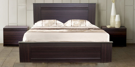 Taro Queen Size Bed With Hydraulic Storage In Walnut Finish By Mintwud