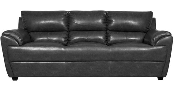 Buy Taylor Leatherette Three Seater Sofa In Black Colour By Hometown