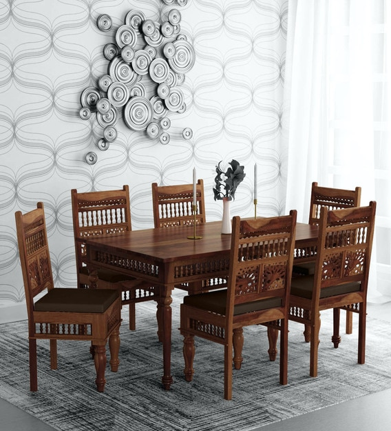 Buy Taksh Solid Wood 6 Seater Dining Set With Brown Upholstery Mudramark By Pepperfry Online Traditional 6 Seater Dining Sets Dining Furniture Pepperfry Product