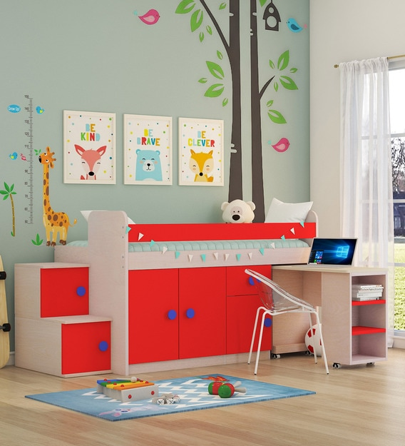 Buy Talisman Stairway Loft Bed with Study Table in Red by CasaCraft Online - Loft Beds - Kids Furniture - Kids Furniture - Pepperfry Product