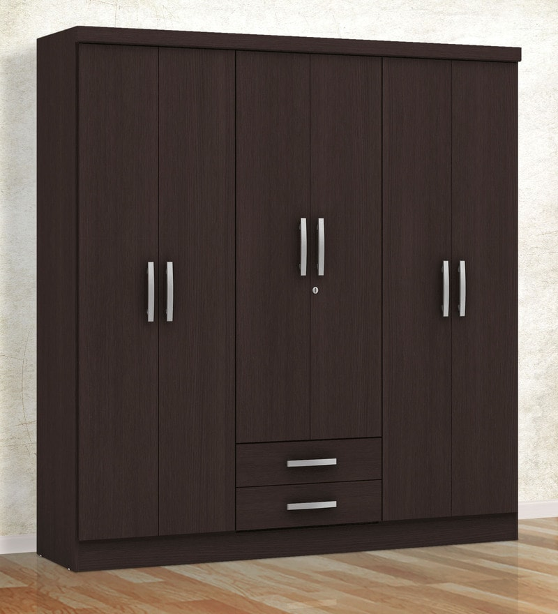 Buy Kimura Six Door Wardrobe With Two Drawers In Tobacco