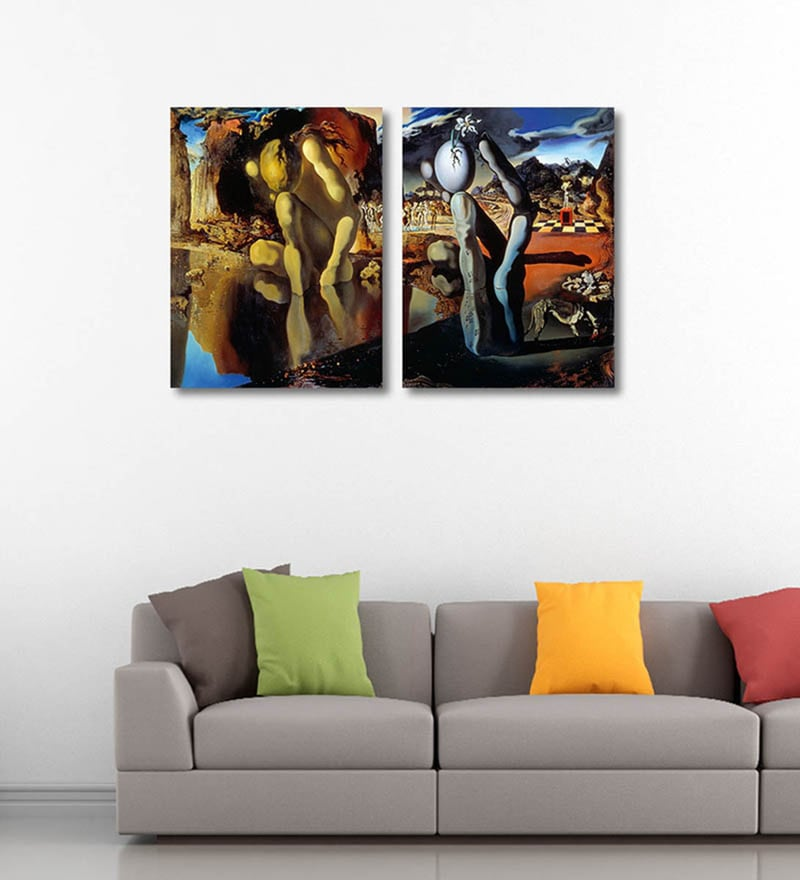 Tallenge Canvas 12 x 0.5 x 18 Inch Narcissus by Salvador Dali Premium Quality Ready to Hang Framed Art Panels - Set of 2