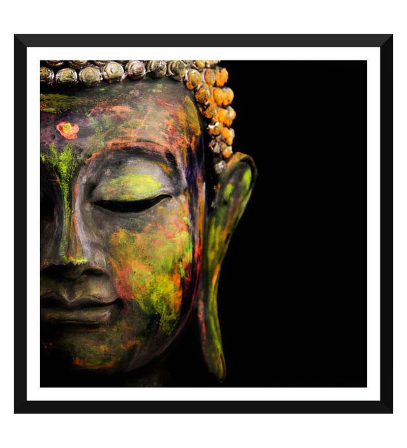Paper 12 x 0.5 x 17 Inch Buddha The Enlightened One Framed Digital Poster by Tallenge