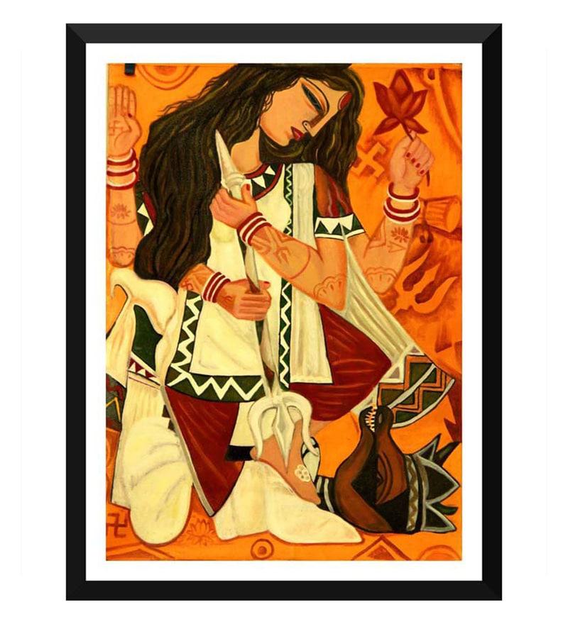 Contemporary Indian Art Durga Framed Digital Poster