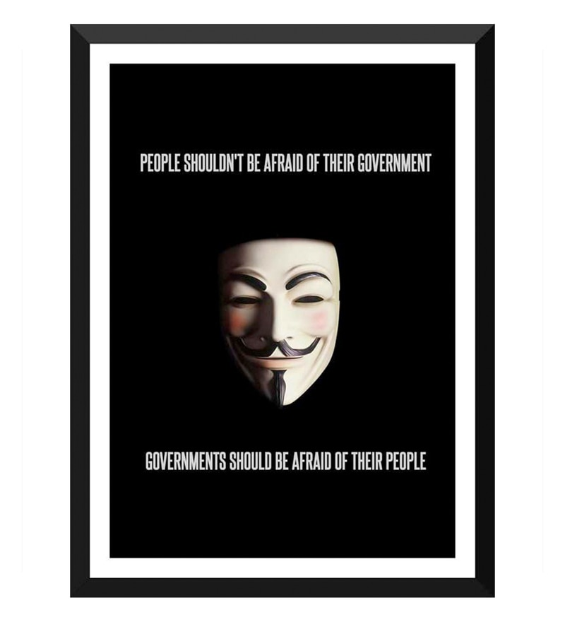 Paper 12 x 0.5 x 17 Inch Hollywood Collection V for Vendetta Movie Quotes Guy Fawkes Framed Digital Poster by Tallenge