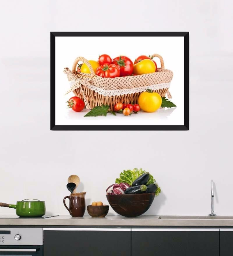 Photographic Paper 18 x 1 x 12 Inch Art For Kitchen Fresh Veggie Basket Framed Digital Art Print by Tallenge