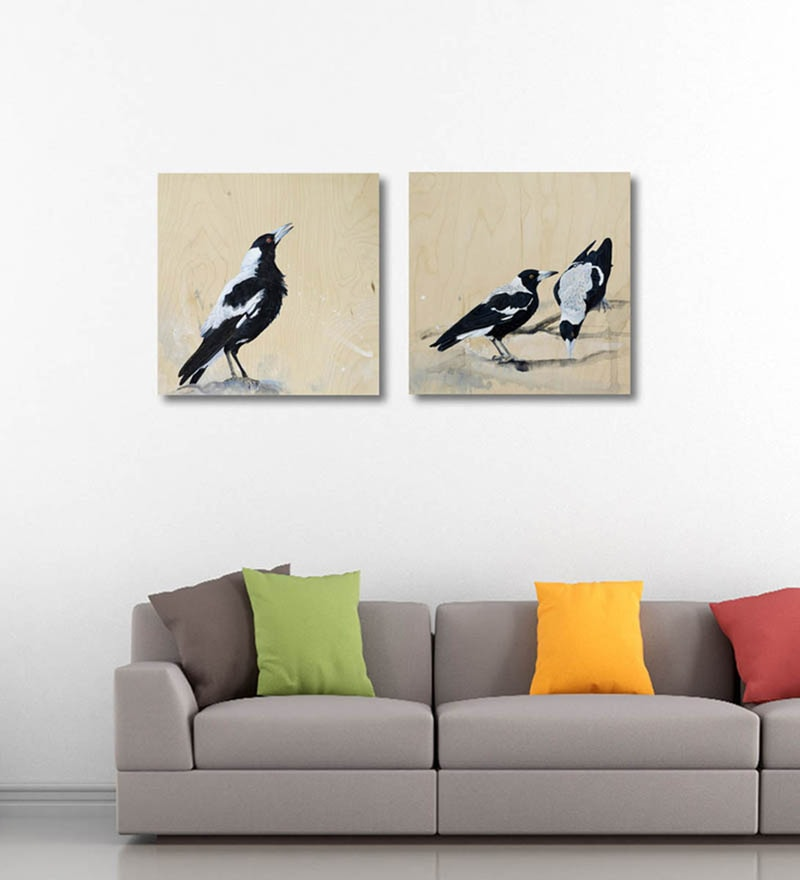 Vinyl 18 x 0.5 x 18 Inch Birds At The Water Bowl Premium Quality Ready to Hang Framed Art Panels - Set of 2 by Tallenge
