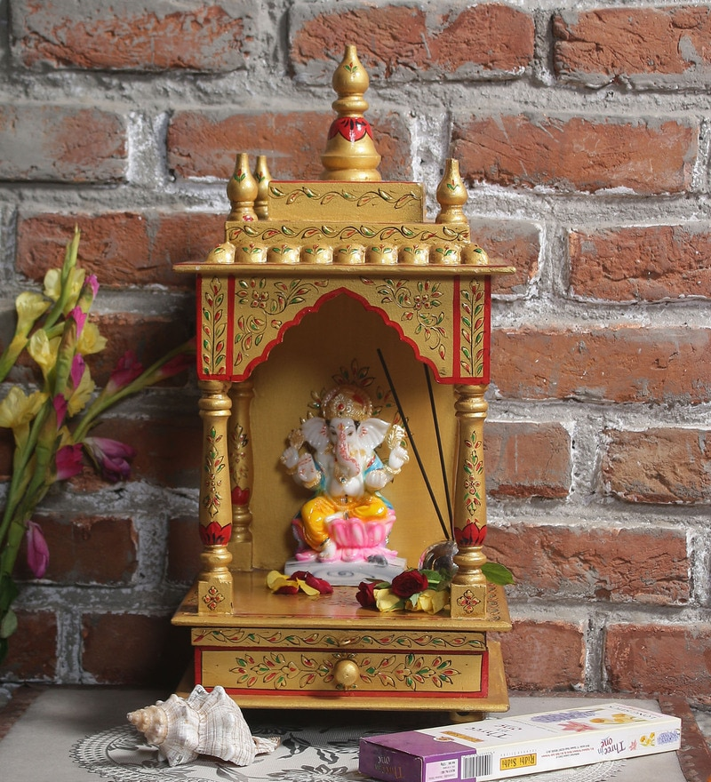 Gold MDF & Mango Wood Jodhpuri Handpainted Temple by LifeEstyle