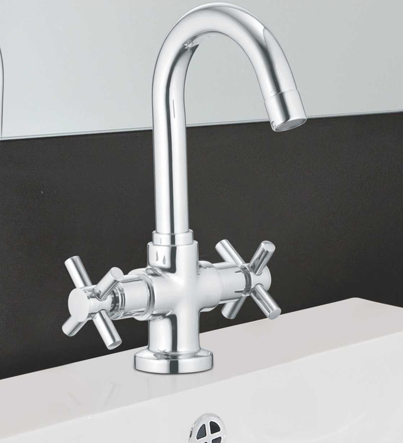 Taptree Axis Silver Brass Centre Hole Basin Mixture