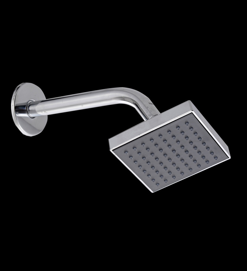 Taptree Silver & Black ABS & Brass 4 x 4 Inch Square Over Head Shower with Pipe