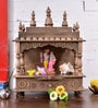 Shrinath Gold MDF & Mango Wood Rajputana Holy Table Top & Wall Temple