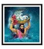 Paper 12 x 0.5 x 17 Inch Baby Krishna & Vasudev Janmashtami Framed Digital Poster by Tallenge