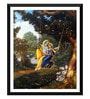 Paper 12 x 0.5 x 17 Inch Beautiful Radha & Krishna on A Swing Framed Digital Poster by Tallenge