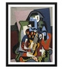 Paper 12 x 0.5 x 17 Inch Harlequin Musician by Picasso Framed Digital Poster by Tallenge