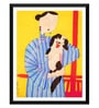 Tallenge Paper 12 x 0.5 x 17 Inch Japanese Art Modern Woman with Her Dog Framed Digital Poster