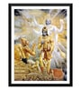 Paper 12 x 0.5 x 17 Inch Krishna Reveals His Two Armed Form to Arjuna Framed Digital Poster by Tallenge