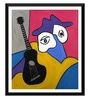 Paper 12 x 0.5 x 17 Inch Musician & His Black Guitar Framed Digital Poster by Tallenge
