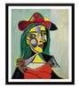 Tallenge Paper 12 x 0.5 x 17 Inch Pablo Picasso Woman in Hat & Fur Collar Framed Digital Poster