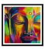 Paper 18 x 0.5 x 18 Inch Peaceful Buddha Colorful Painting Framed Digital Poster by Tallenge