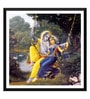 Paper 12 x 0.5 x 17 Inch Radha & Krishna on A Swing Framed Digital Poster by Tallenge