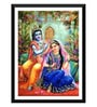 Paper 12 x 0.5 x 17 Inch Radha Krishna Love Framed Digital Poster by Tallenge