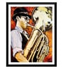 Paper 12 x 0.5 x 17 Inch The Saxophonist Framed Digital Poster by Tallenge