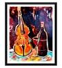 Paper 12 x 0.5 x 17 Inch Violin & Wine Framed Digital Poster by Tallenge