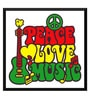 Paper 17 x 0.5 x 12 Inch Peace Love & Music Framed Digital Poster by Tallenge