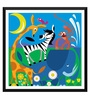 Tallenge Paper 18 x 0.5 x 18 Inch Circus in The Zoo Framed Digital Poster