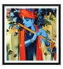 Paper 18 x 0.5 x 18 Inch Enchanting Krishna Playing Flute Framed Digital Poster by Tallenge